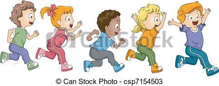 Clip Art of Marathon Kid Race.