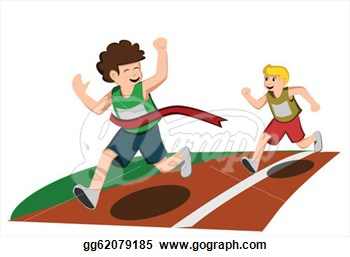Kids Running A Race Clipart.