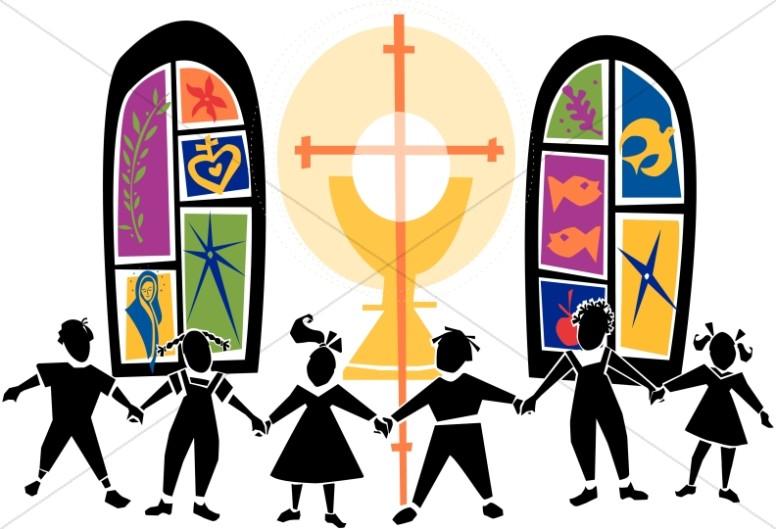 Chain of Kids at Church.