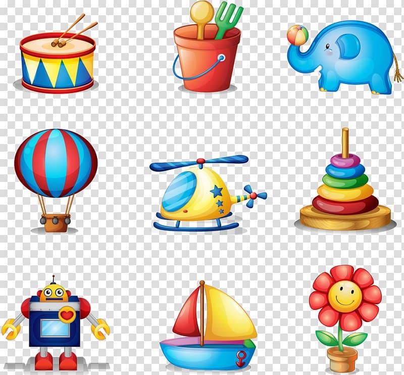 Assorted toys illustration, Toy Illustration, Cartoon.