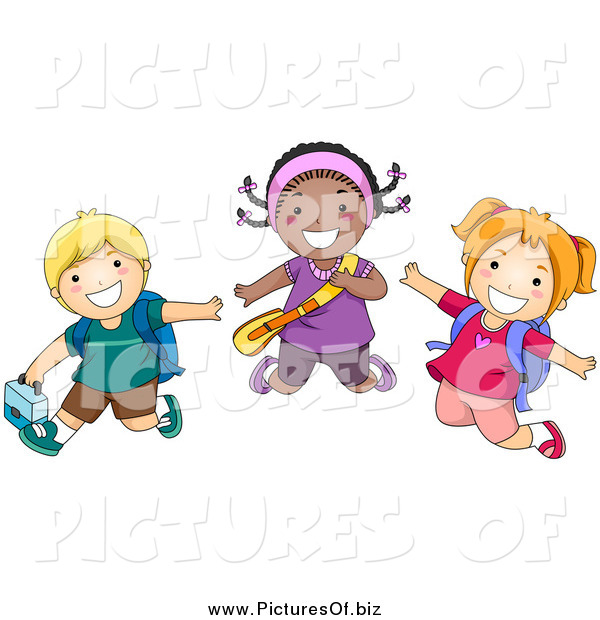 Vector Clipart of Happy Diverse School Children Jumping by BNP.