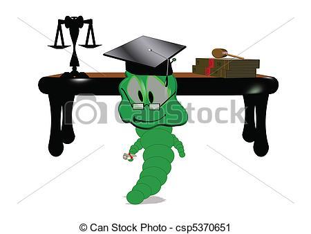 Vector Clip Art of willy worm graduates law school.