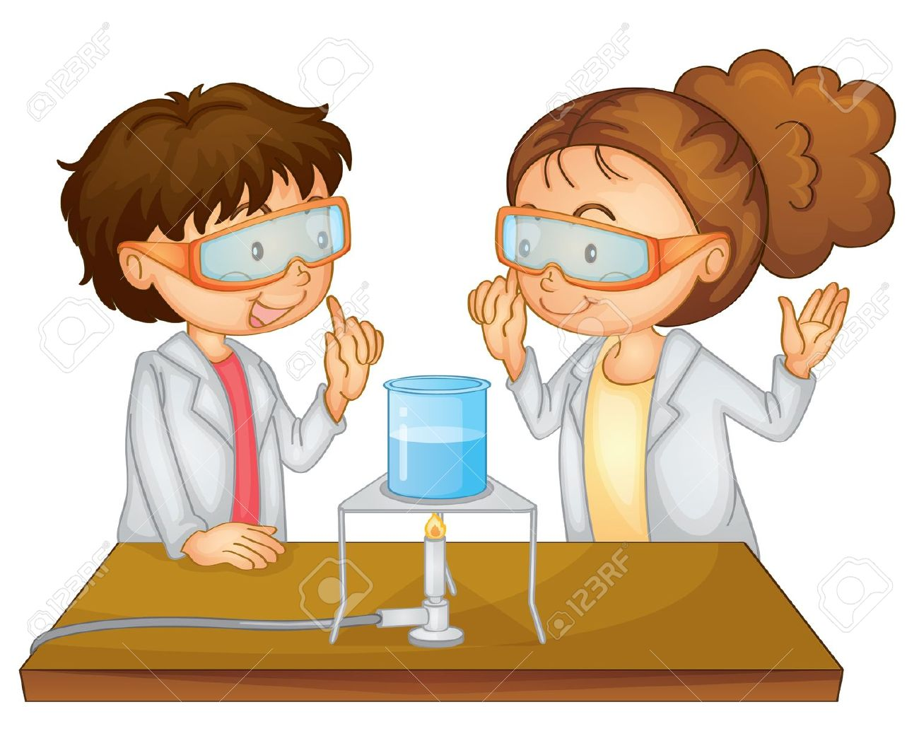 Illustration Of 2 Children Doing Science Royalty Free Cliparts.