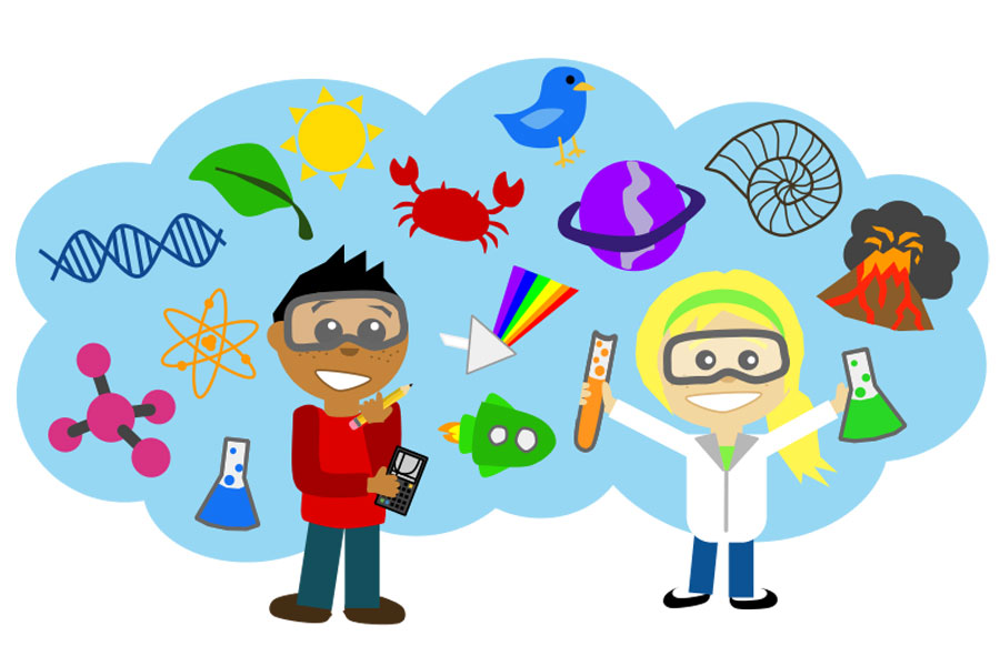 Kids with science clipart.