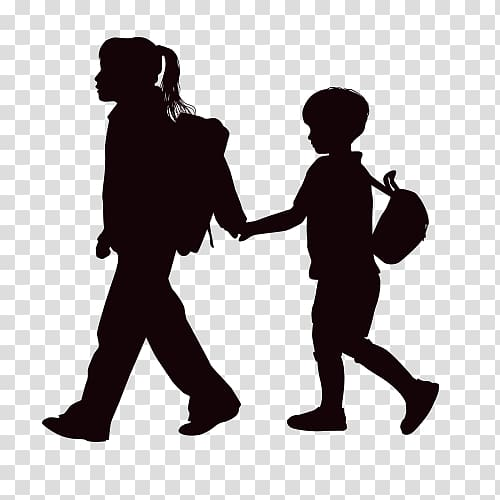 Silhouette of girl carrying boy, Child Silhouette , Children.