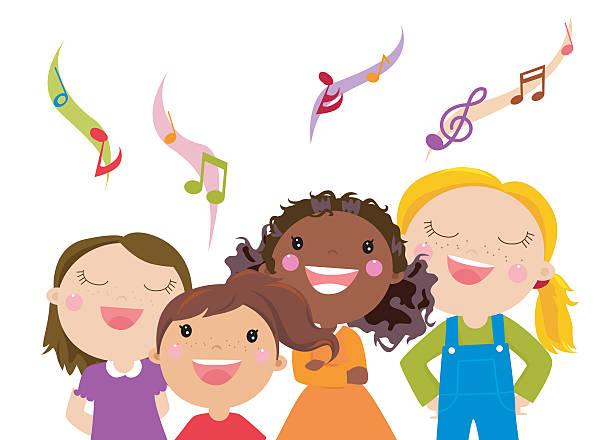 Best Kid Singing Illustrations, Royalty.