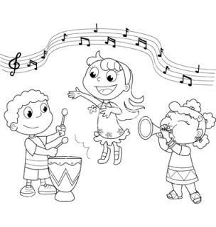 Children singing clipart black and white.