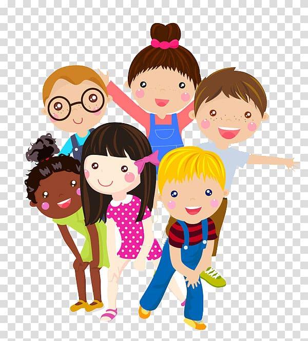 Six children illustration, Child Cartoon Illustration.