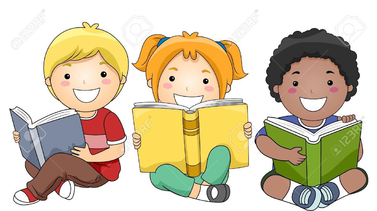 Happy Children Studying Clipart.