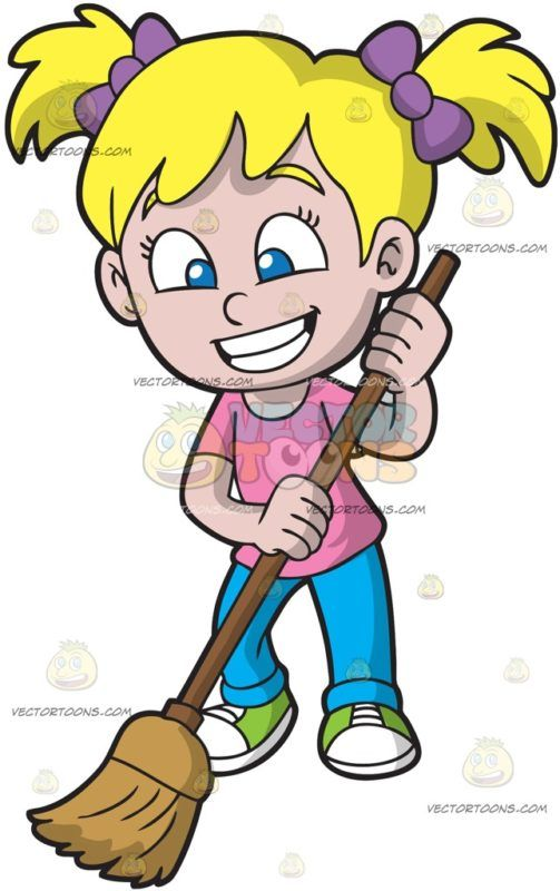 A Happy Girl Sweeping The Floor : A girl with blonde hair in.
