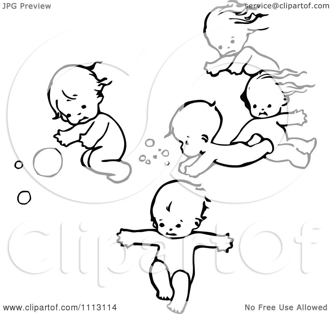 Clipart Vintage Black And White Swimming Babies.