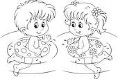 Clip Art of Boy and Inflatable Swim Ring k5393846.