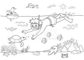 Child Swimming Under Water stock vectors.