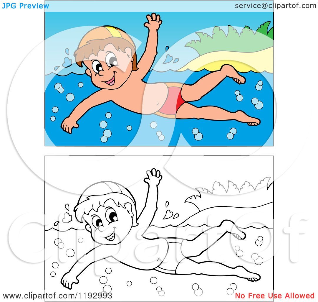 Cartoon of a Happy Boy Swimming near an Island Beach, in Color and.