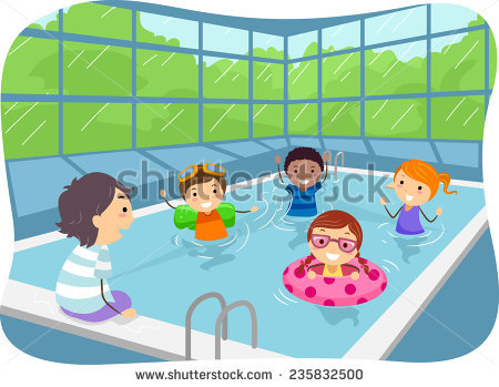 Illustration Kids Swimming Pool Stock Vector 79534411.