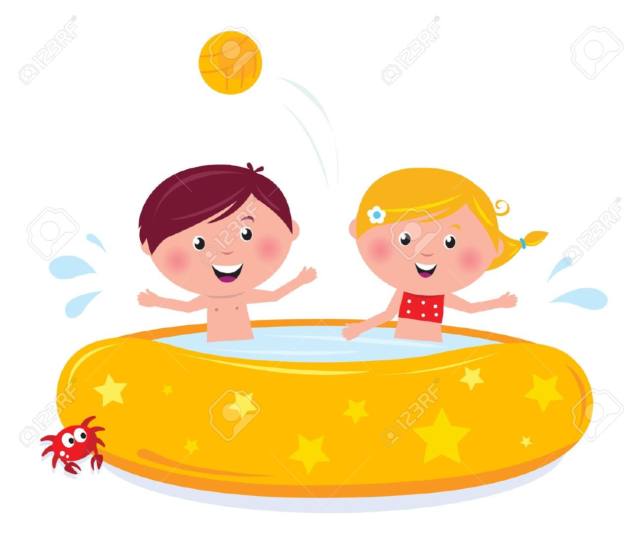 Happy Smiling Kids In Swimming Pool, Summer Illustration Cartoon.