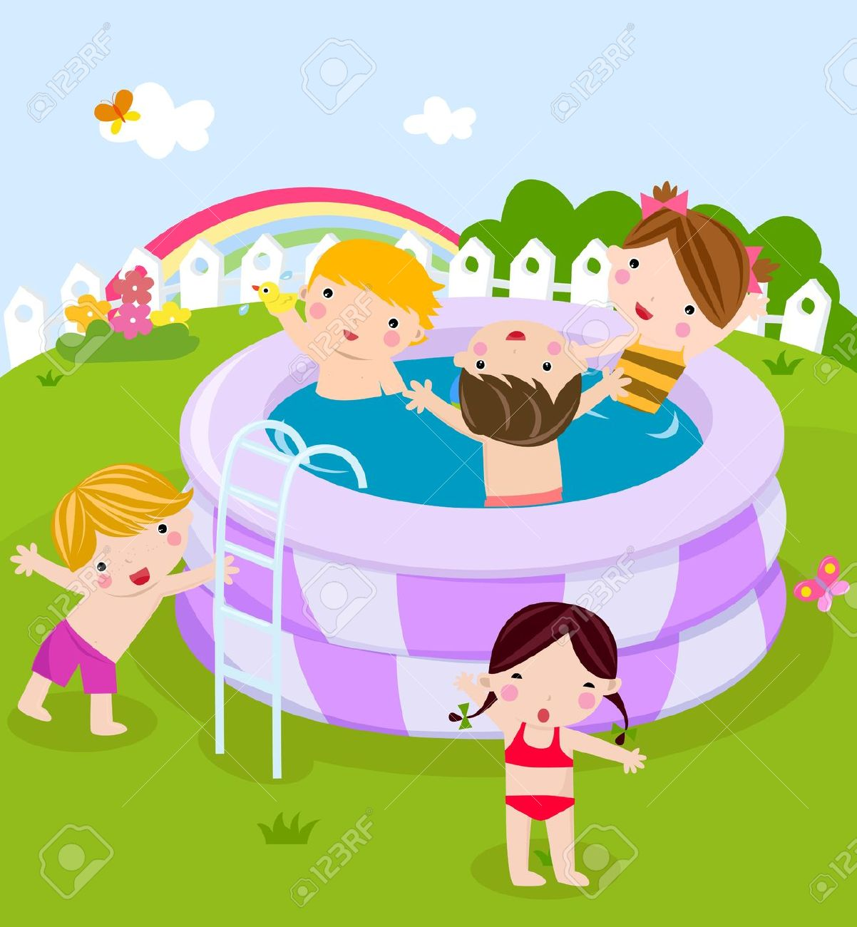 Kids Having Fun In The Pool Royalty Free Cliparts, Vectors, And.