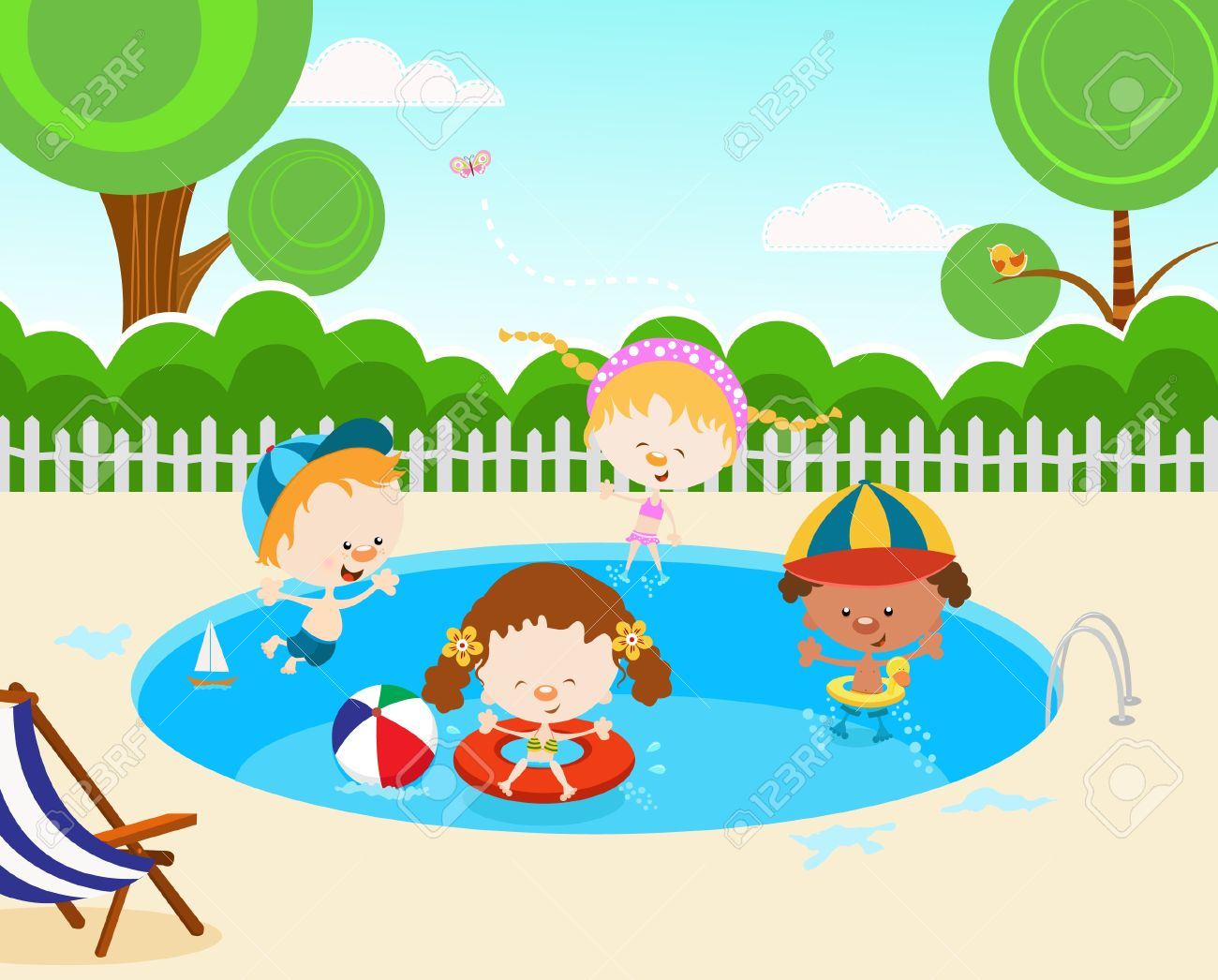 Kids In Swimming Pool Royalty Free Cliparts, Vectors, And Stock.
