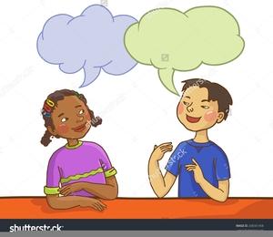 Clipart Two Children Talking.
