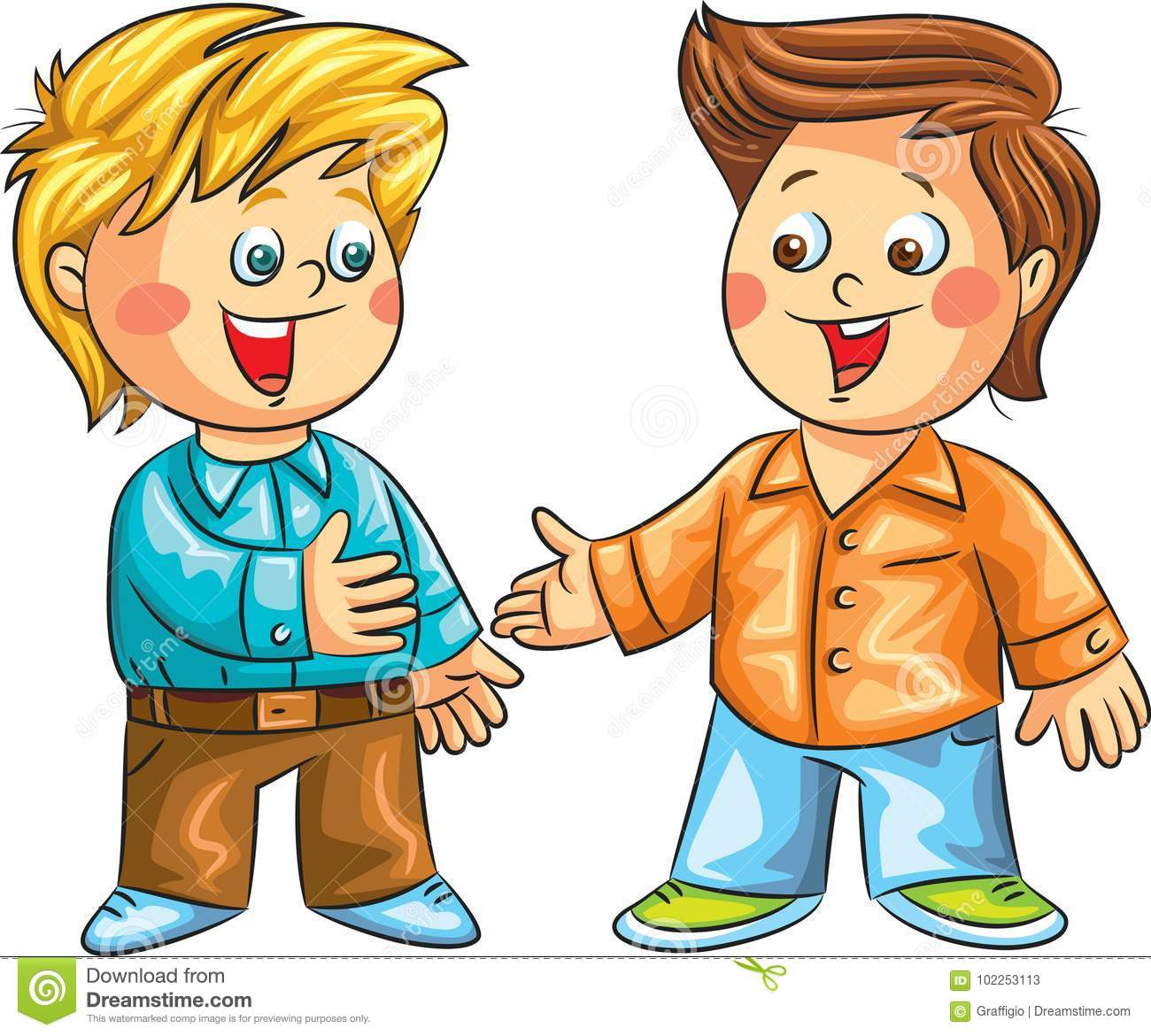 Two Boys Talking Clipart.