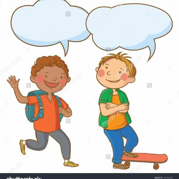 Two Kids Talking To Each Other Clipart.