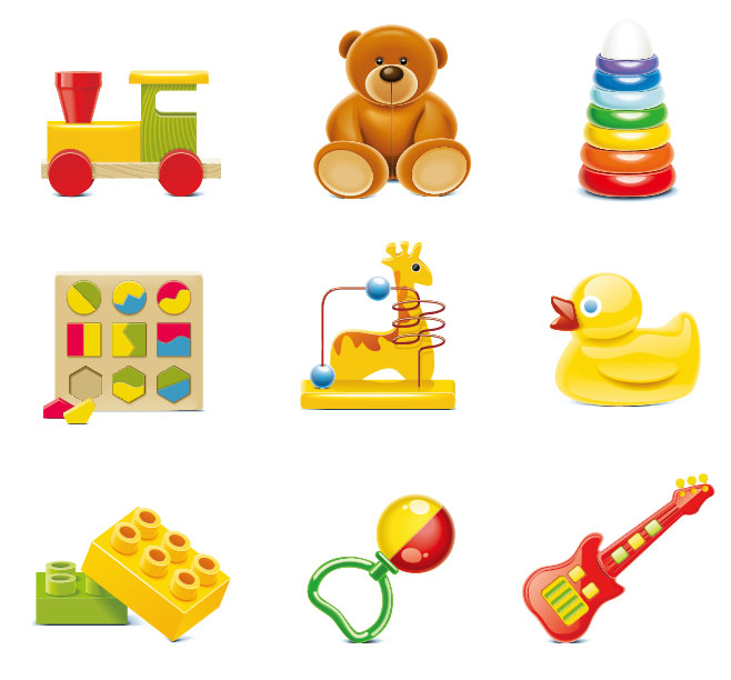 Children with toys clipart.