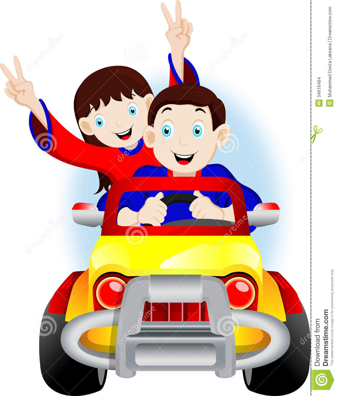 Children Driving A Car Stock Images.