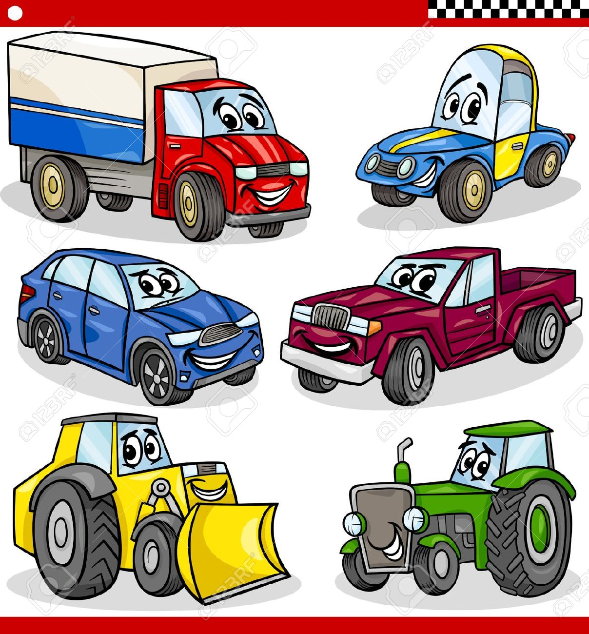 Cartoon Illustration Of Cars And Trucks Vehicles And Machines.