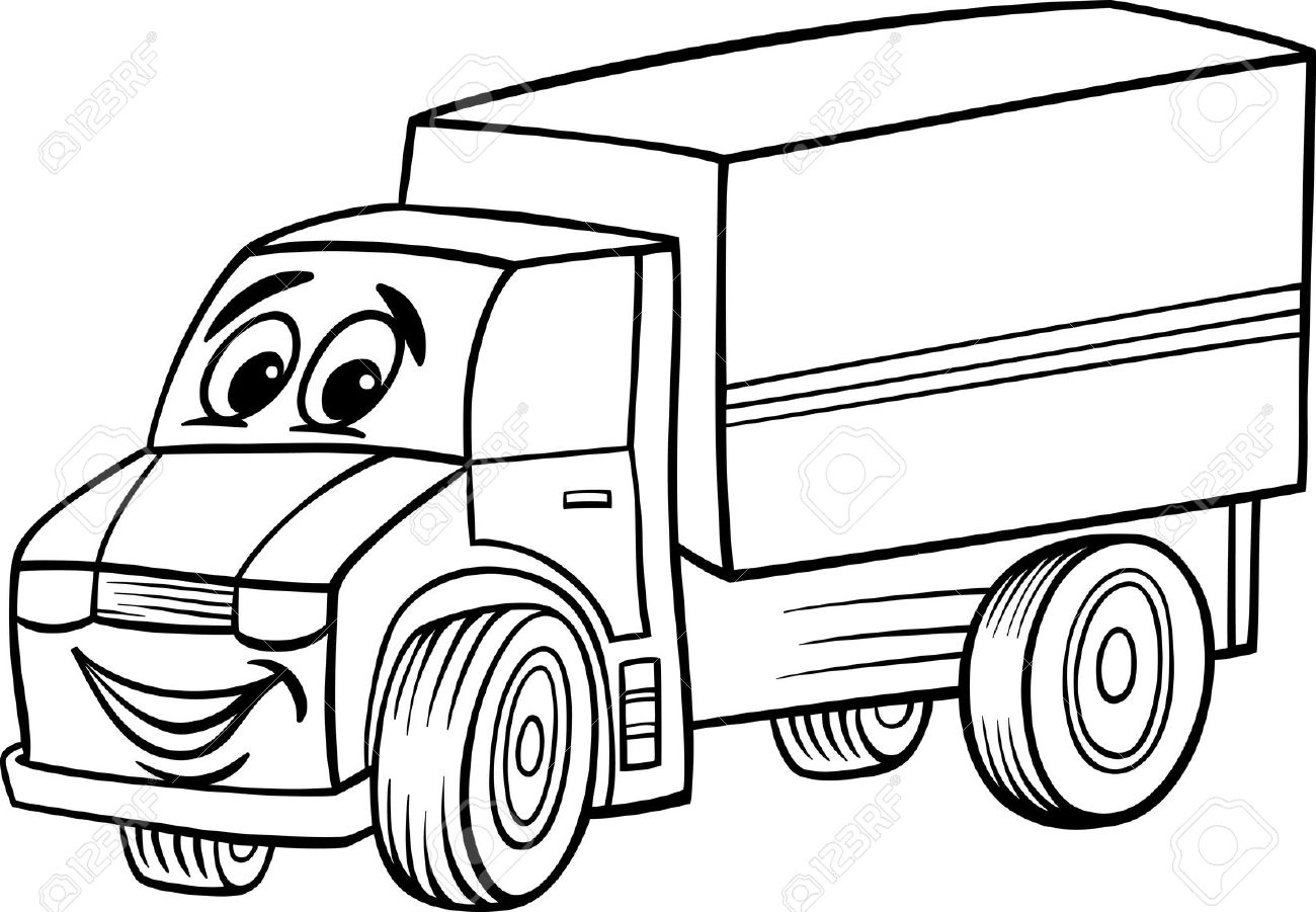 Black And White Cartoon Illustration Of Funny Truck Or Lorry.
