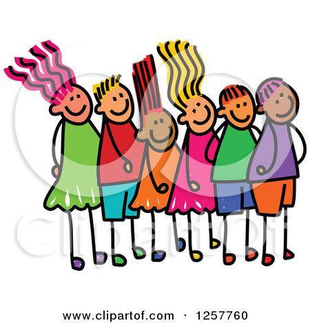 Clipart of a Diverse Group of Stick Children Waiting in Line.
