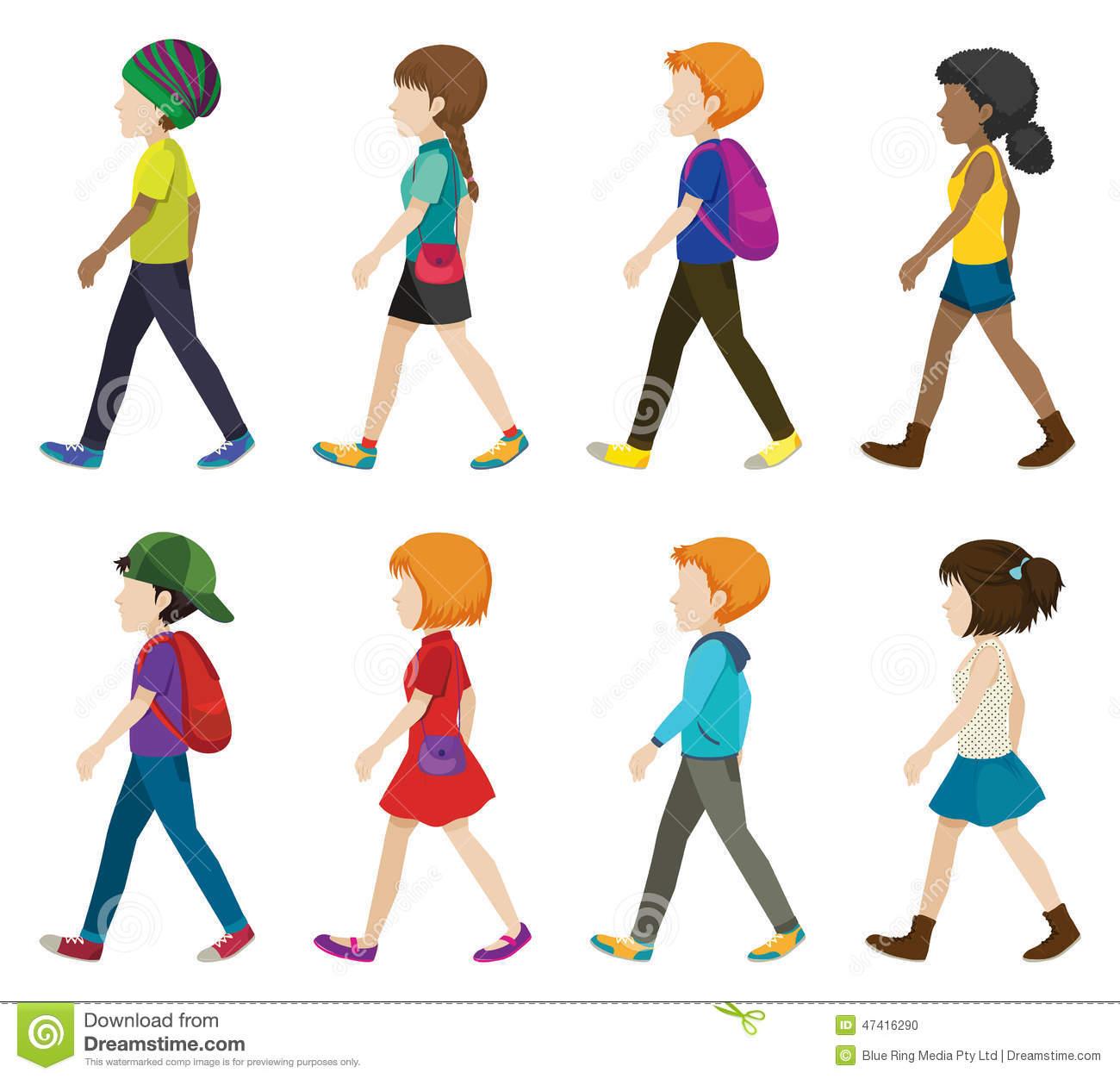 Faceless Children Walking Stock Vector.