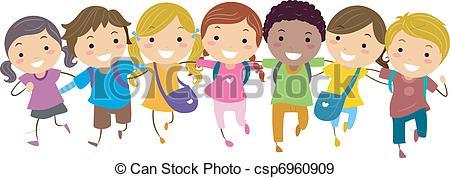 walking kids clipart #14