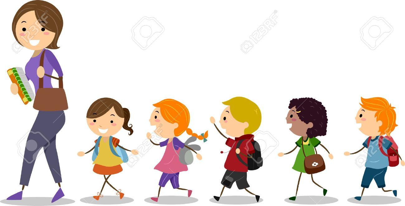 Illustration Of School Kids Following Their Teacher Stock Photo.