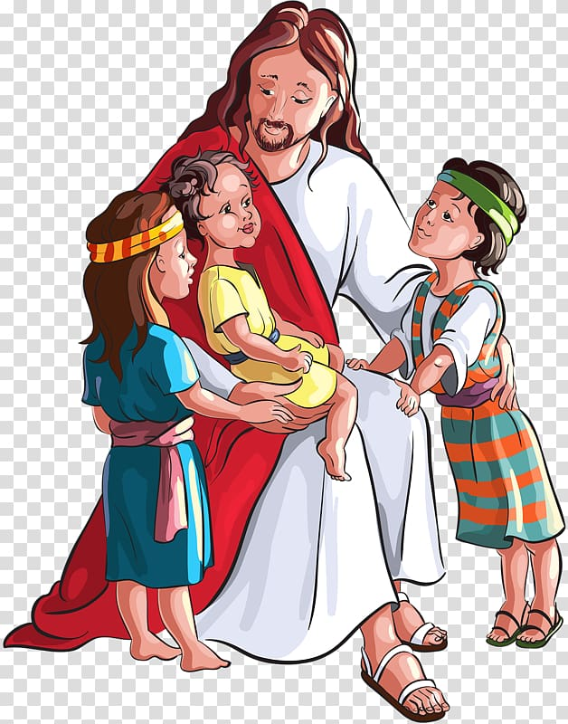 Jesus Christ with three children , Child Bible Depiction of.