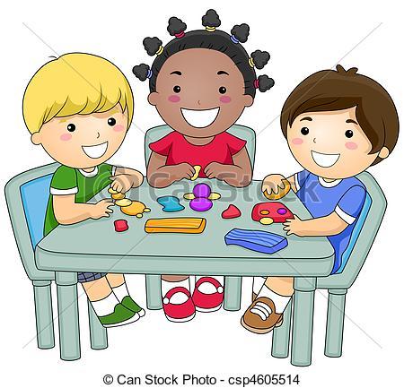 Children group work clipart.