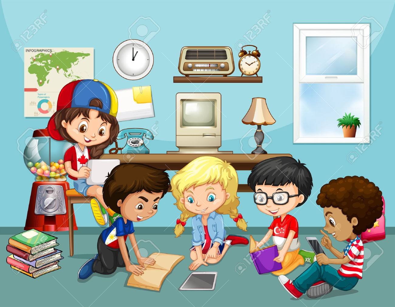Many children working in classroom illustration.