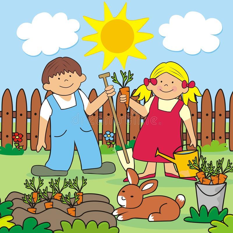 Children Work Garden Stock Illustrations.