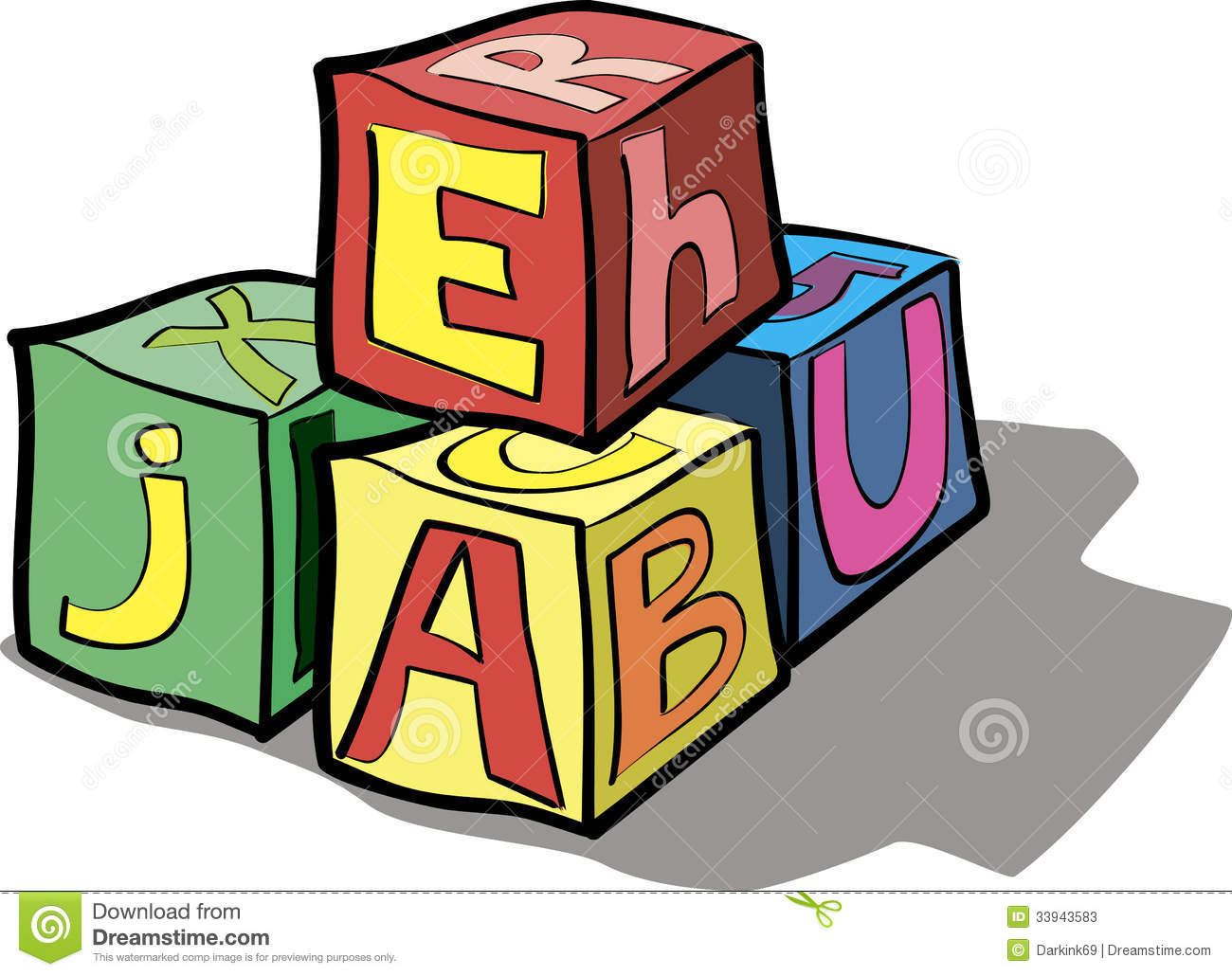 Children's Blocks With Letters Stock Vector.
