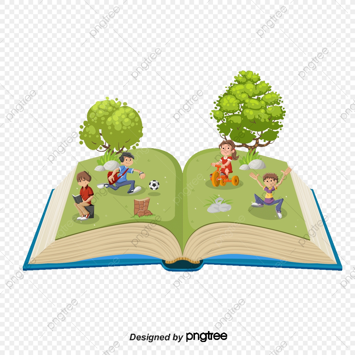 Vector Tree With Cartoon Childrens Books, Tree Clipart, Cartoon.