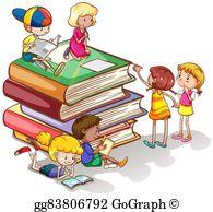 Kids Reading Books Clip Art.