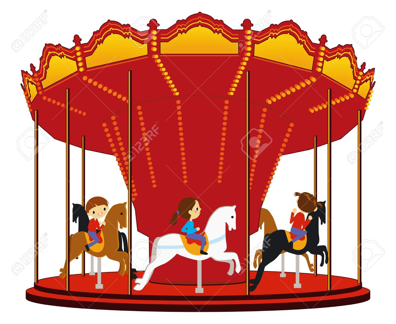 Children S Carousel Royalty Free Cliparts, Vectors, And Stock.
