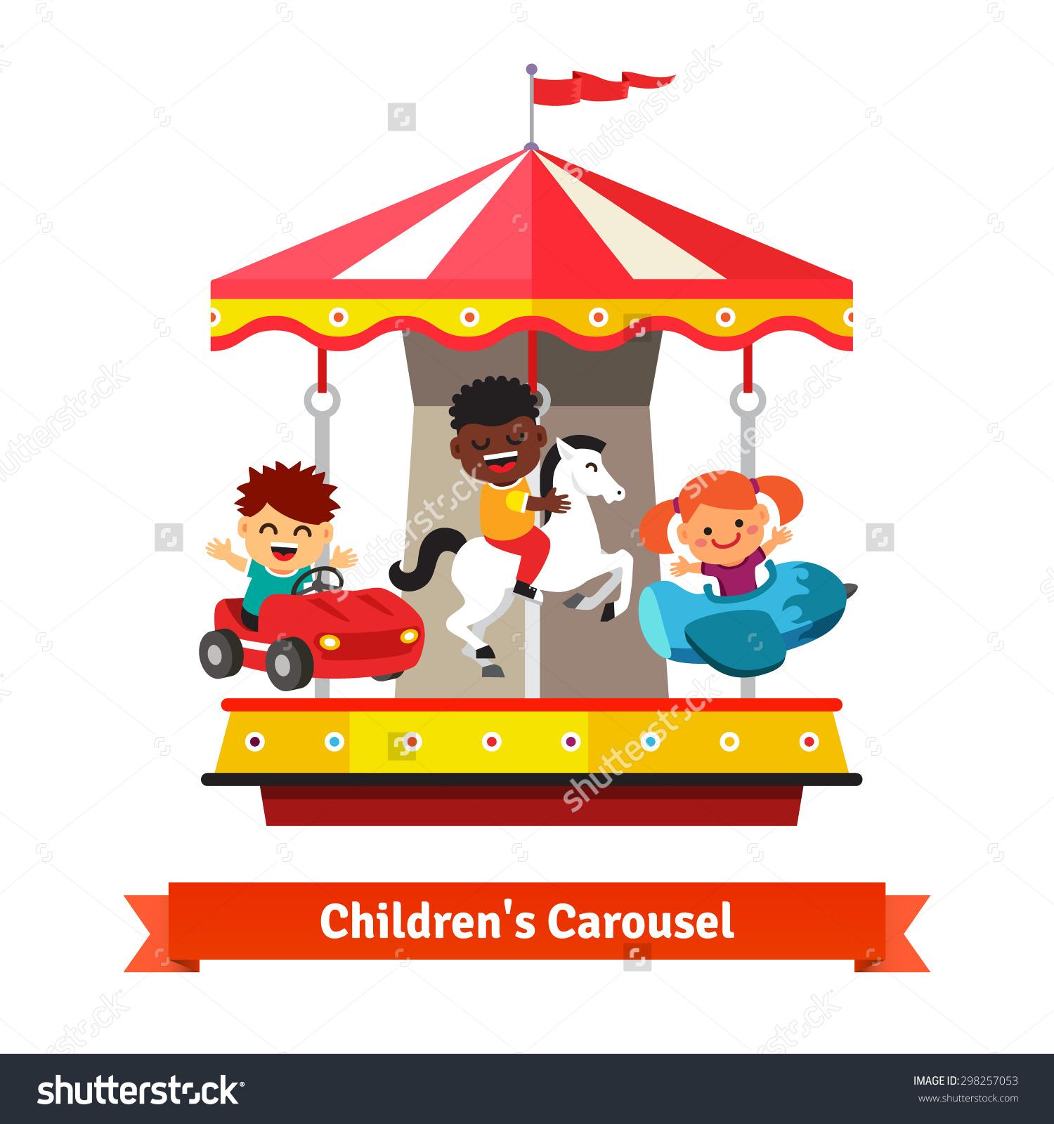 Kids Having Fun On Carnival Carousel Stock Vector 298257053.