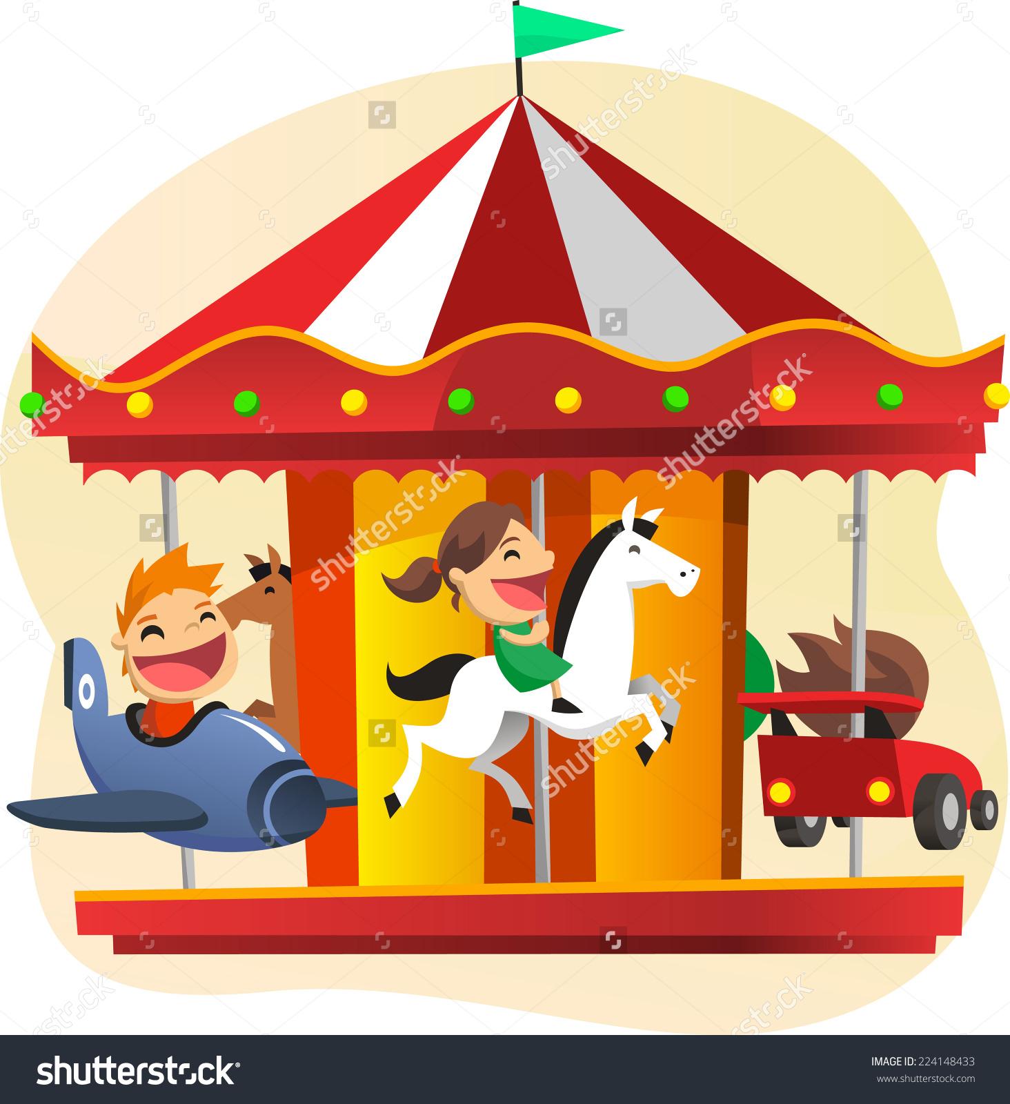 Children Having Fun Merry Go Round Stock Vector 224148433.