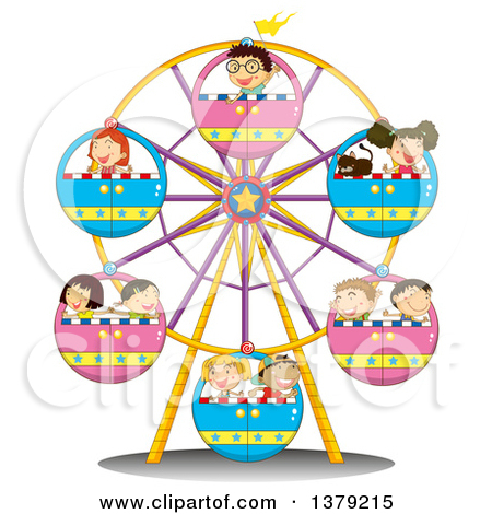 Vector Clipart Of A Ferris Wheel Carnival Ride.