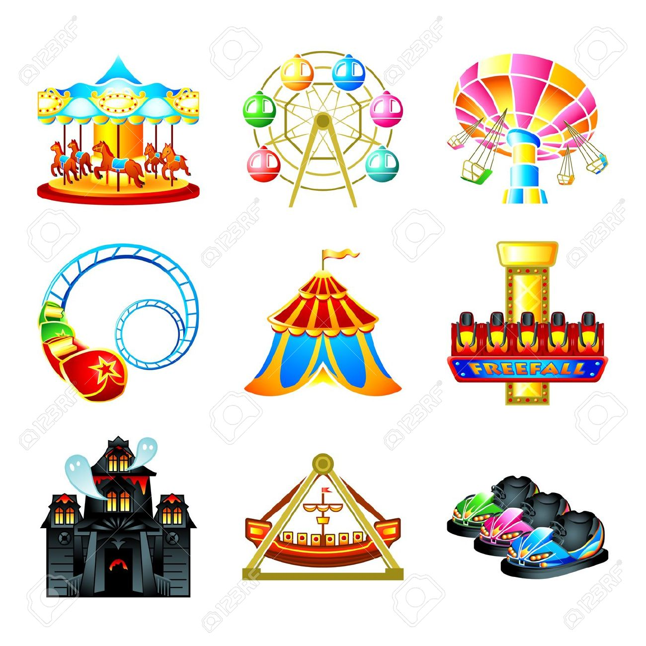 Amusement park ride clipart.