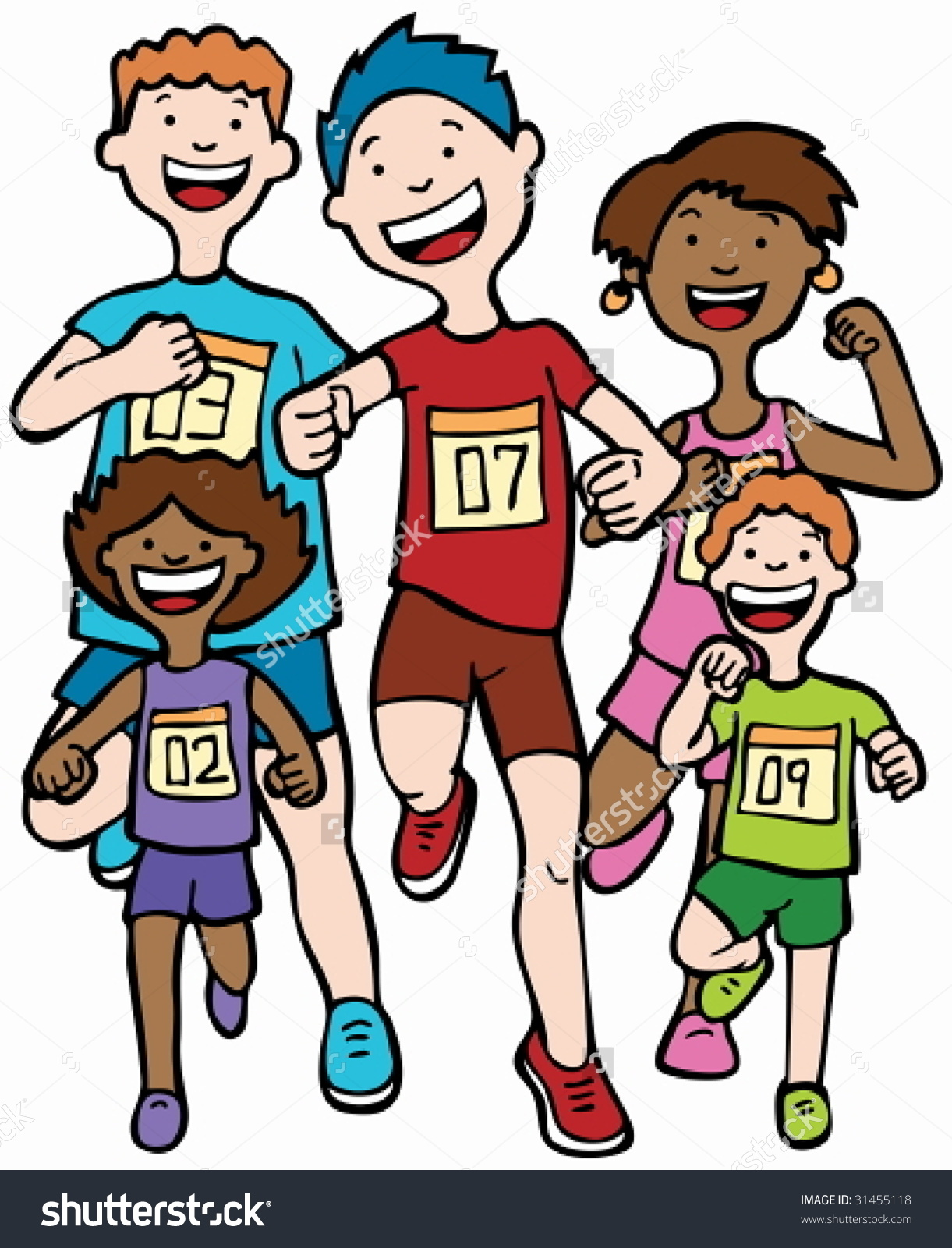 Marathon Kid Race Children Running Together Stock Vector 31455118.