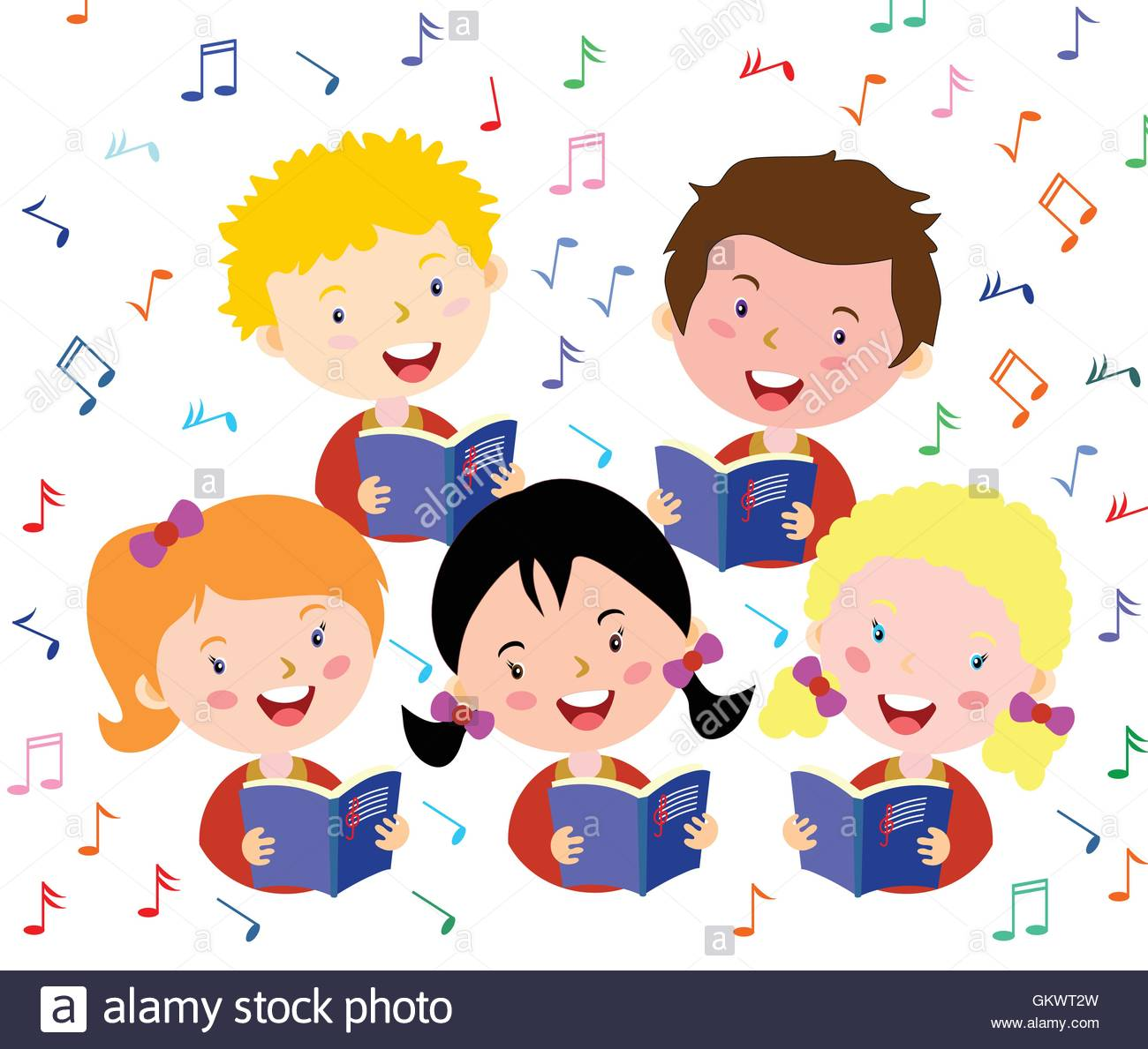 Children choir. Kids choir singing Stock Vector Art & Illustration.