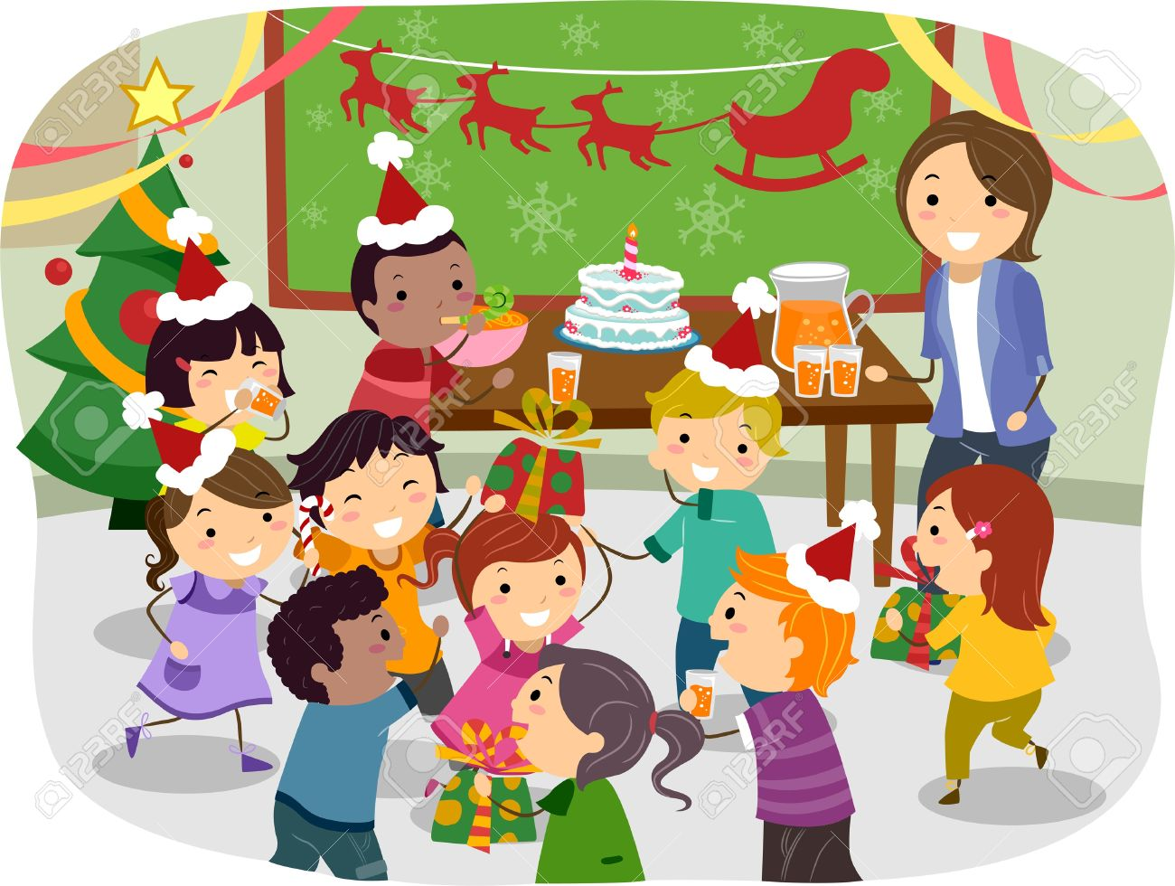 School Christmas Party Clipart.