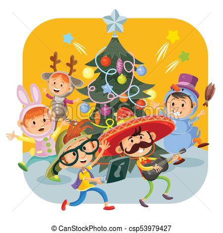 Kids Christmas carnival party vector illustration.