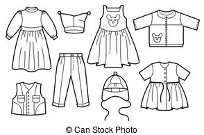Set children's summer dresses. Collection cute clothes for girls..